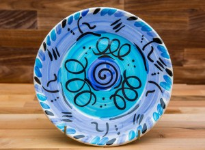 Abstract 8″ side plate in blue