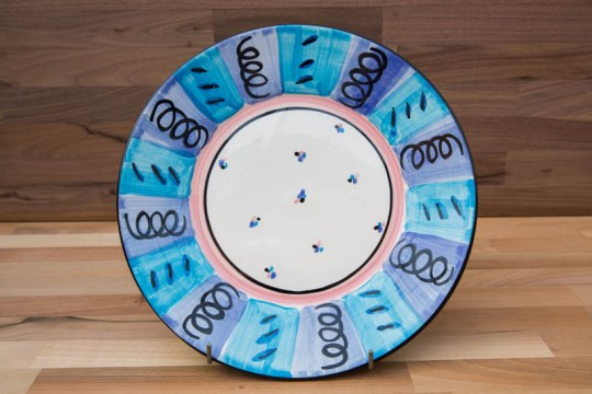 Vertical Stripey 11″ dinner plate in Blue