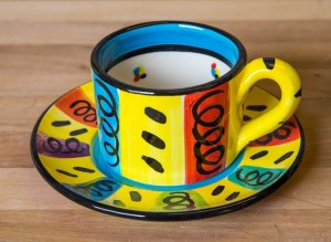 Vertical Stripey small cup and saucer in Multi