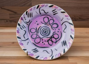 Abstract 11″ dinner plate in purple