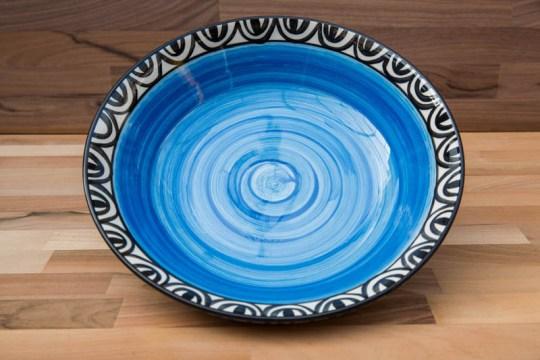 Aztec pasta bowl in bright blue