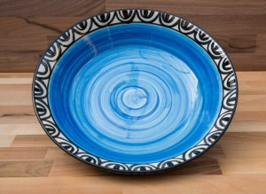 Aztec pasta bowl in bright blue