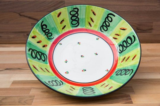 Vertical Stripey salad bowl in Green