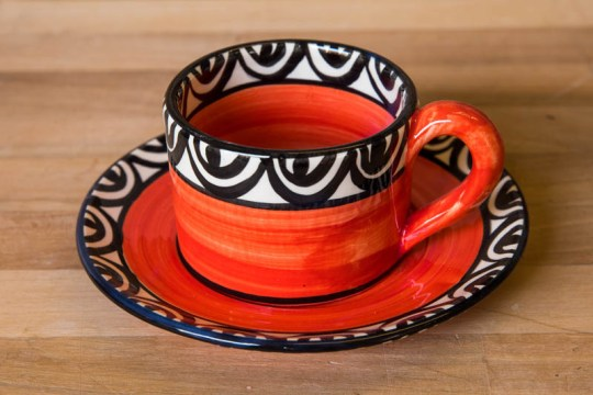 Aztec small cup and saucer in red