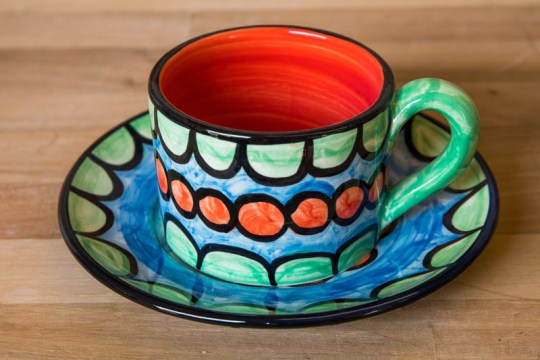 Fruity small cup and saucer in Green