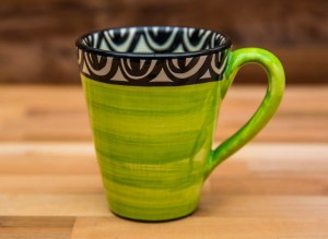 Aztec large tapered mug in lime green