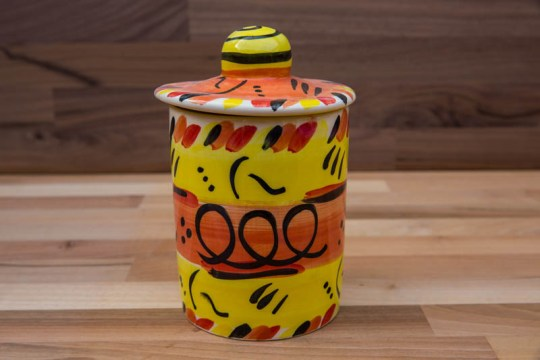 Abstract storage jar in yellow