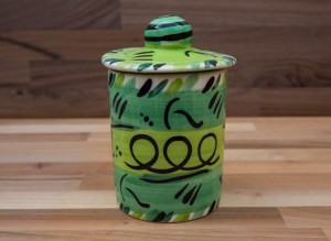 Abstract tea caddy in green