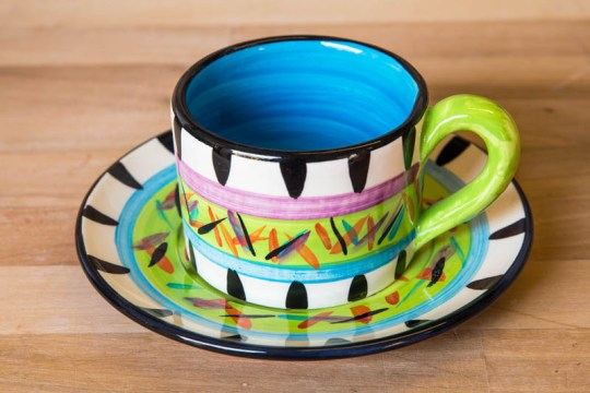 Splash small cup and saucer in Lime Green