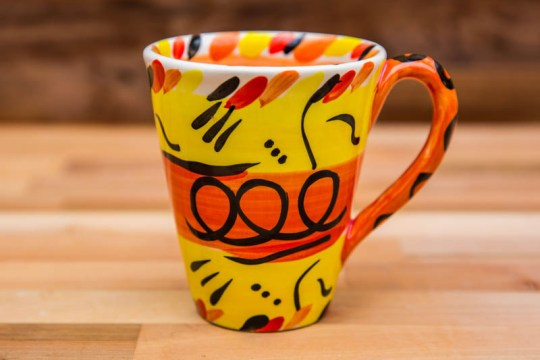 Abstract large tapered mug in yellow