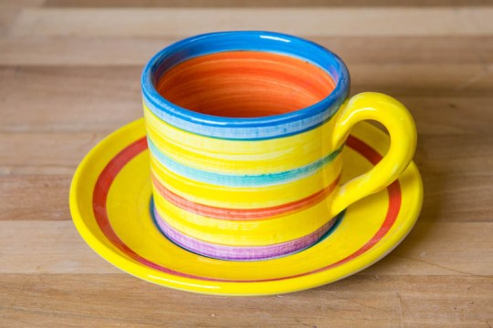 Horizontal stripey small cup and saucer in Yellow