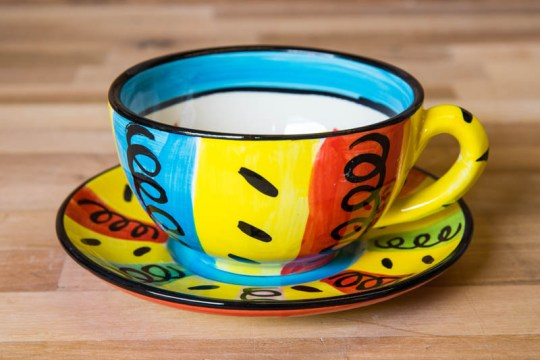 Vertical Stripey cup and saucer in Multi