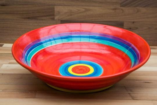 Horizontal Stripey salad/fruit bowl in red