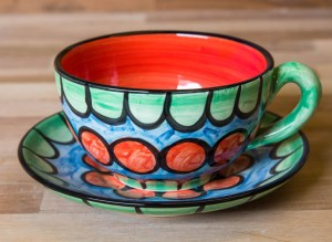 Fruity cup and saucer in Green