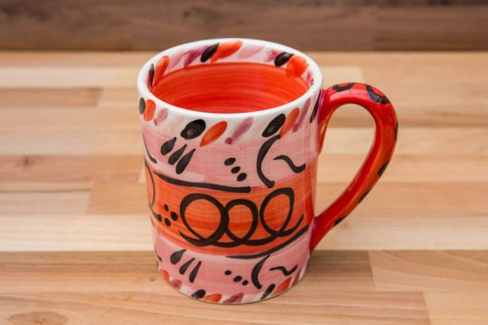 Abstract parallel pint mug in red
