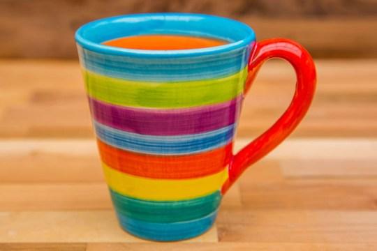horizontal stripey large tapered mug in candy