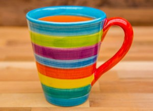 horizontal stripey large tapered mug in candy