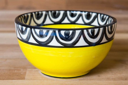 Aztec sugar bowl in yellow