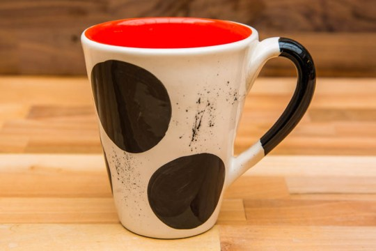 Black and White large tapered mug in spot