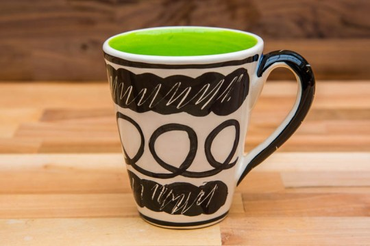 Black and White large tapered mug in scribble