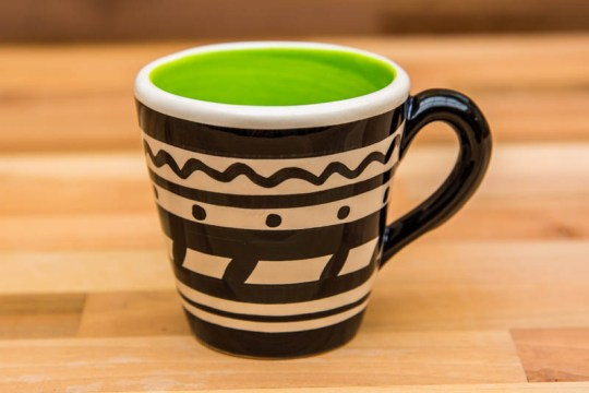 Black and White small tapered mug in Banded