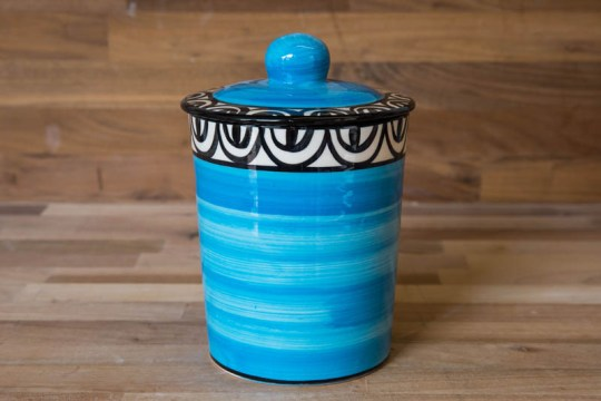 Aztec storage jar in bright blue