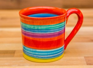 Horizontal Stripey small parallel mug in Red