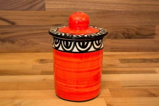 Aztec tea caddy in red