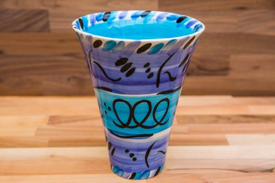 Abstract large vase in blue