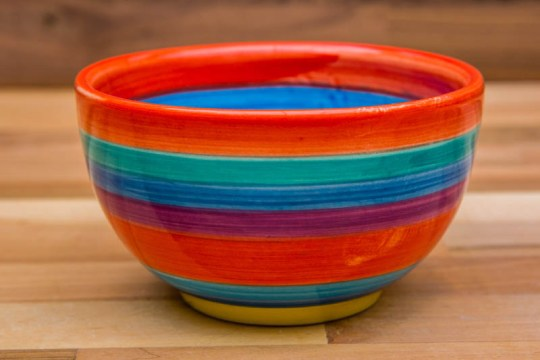 Horizontal Stripey sugar bowl in red
