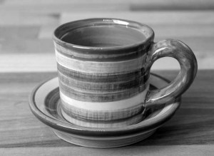 Black and White espresso cup and saucer in Polka Dot
