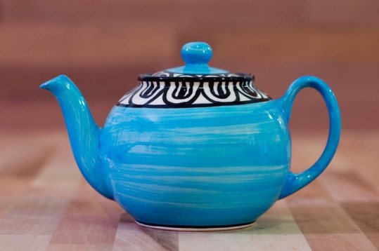 Aztec mini teapot in bright blue