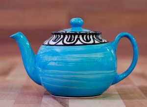 Aztec small teapot in bright blue