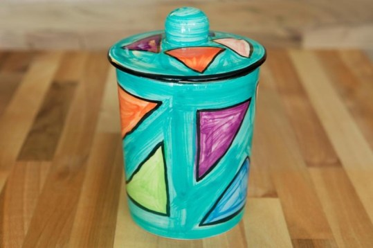 Carnival tea caddy in sea green