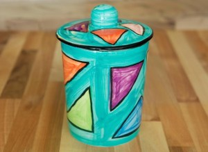 Carnival storage jar in sea green
