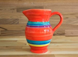Horizontal Stripey medium jug in red
