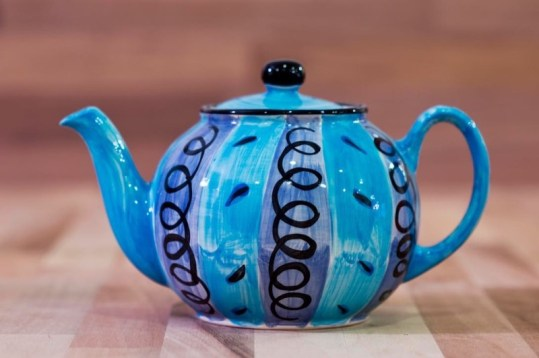 Vertical Stripey mini teapot in Blue