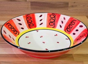 Vertical Stripey pasta bowl in red