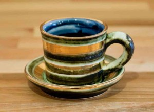 Lustre Horizontal espresso cup and saucer in No.09