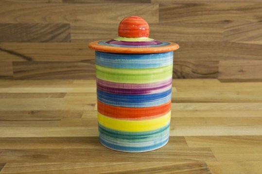 horizontal stripey storage jar in candy