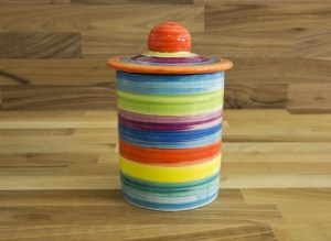 horizontal stripey storage jar in candy