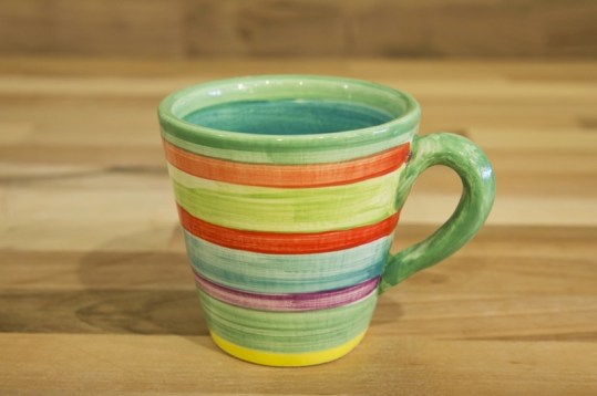 Horizontal Stripey small tapered mug in green
