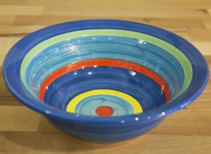 horizontal stripey cereal bowl in blue