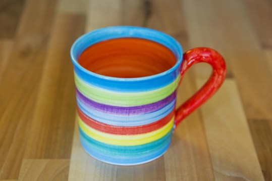 Horizontal stripey wide parallel mug in candy