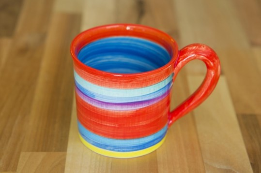 Horizontal stripey wide parallel mug in red