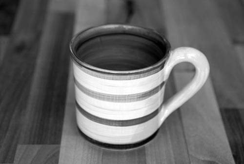 Black and White small parallel mug in Polka Dot