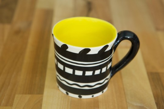 Black and white wide mug in banded