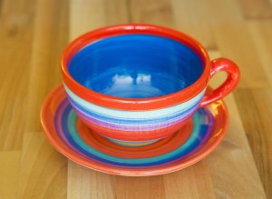 horizontal stripey cup and saucer in red
