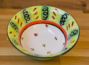 Vertical stripey cereal bowl in green