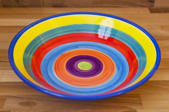 Horizontal Stripey salad/fruit bowl in candy